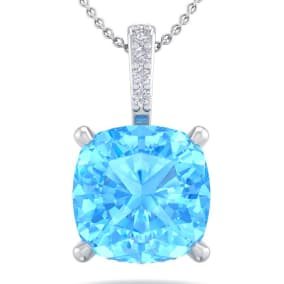 1 1/5 Carat Cushion Cut Blue Topaz and Hidden Halo Diamond Necklace In 14 Karat White Gold, 18 Inches