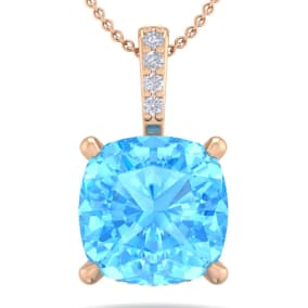 1 1/5 Carat Cushion Cut Blue Topaz and Hidden Halo Diamond Necklace In 14 Karat Rose Gold, 18 Inches