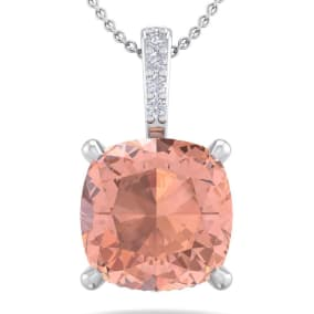 1 Carat Cushion Cut Morganite and Hidden Halo Diamond Necklace In 14 Karat White Gold, 18 Inches