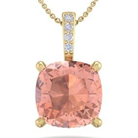 1 Carat Cushion Cut Morganite and Hidden Halo Diamond Necklace In 14 Karat Yellow Gold, 18 Inches