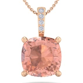 1 Carat Cushion Cut Morganite and Hidden Halo Diamond Necklace In 14 Karat Rose Gold, 18 Inches