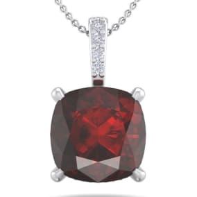 1 1/10 Carat Cushion Cut Garnet and Hidden Halo Diamond Necklace In 14 Karat White Gold, 18 Inches