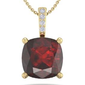 1 1/10 Carat Cushion Cut Garnet and Hidden Halo Diamond Necklace In 14 Karat Yellow Gold, 18 Inches