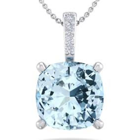 3/4 Carat Cushion Cut Aquamarine and Hidden Halo Diamond Necklace In 14 Karat White Gold, 18 Inches