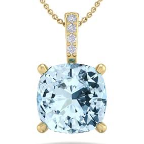 3/4 Carat Cushion Cut Aquamarine and Hidden Halo Diamond Necklace In 14 Karat Yellow Gold, 18 Inches