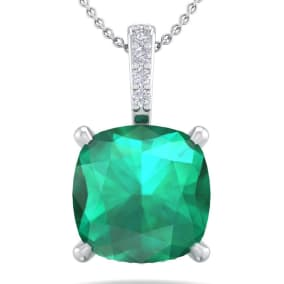 1 1/10 Carat Cushion Cut Emerald and Hidden Halo Diamond Necklace In 14 Karat White Gold, 18 Inches