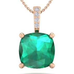 1 1/10 Carat Cushion Cut Emerald and Hidden Halo Diamond Necklace In 14 Karat Rose Gold, 18 Inches