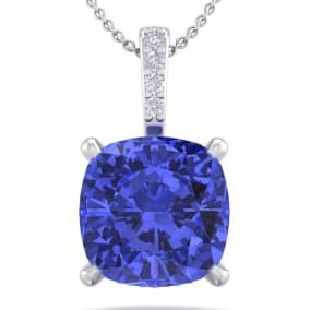 1 Carat Cushion Cut Tanzanite and Hidden Halo Diamond Necklace In 14 Karat White Gold, 18 Inches