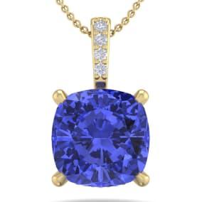 1 Carat Cushion Cut Tanzanite and Hidden Halo Diamond Necklace In 14 Karat Yellow Gold, 18 Inches