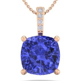 1 Carat Cushion Cut Tanzanite and Hidden Halo Diamond Necklace In 14 Karat Rose Gold, 18 Inches