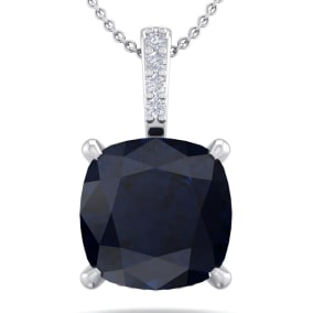 1 1/10 Carat Cushion Cut Sapphire and Hidden Halo Diamond Necklace In 14 Karat White Gold, 18 Inches