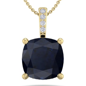 1 1/10 Carat Cushion Cut Sapphire and Hidden Halo Diamond Necklace In 14 Karat Yellow Gold, 18 Inches