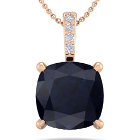 1 1/10 Carat Cushion Cut Sapphire and Hidden Halo Diamond Necklace In 14 Karat Rose Gold, 18 Inches