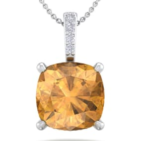 1 Carat Cushion Cut Citrine and Hidden Halo Diamond Necklace In 14 Karat White Gold, 18 Inches