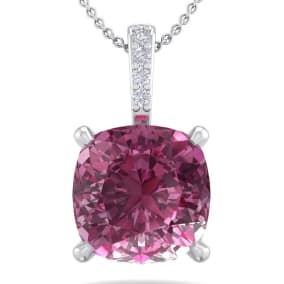 1 1/5 Carat Cushion Cut Pink Topaz and Hidden Halo Diamond Necklace In 14 Karat White Gold, 18 Inches
