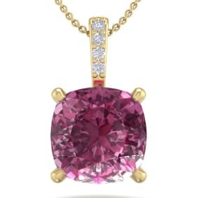1 1/5 Carat Cushion Cut Pink Topaz and Hidden Halo Diamond Necklace In 14 Karat Yellow Gold, 18 Inches