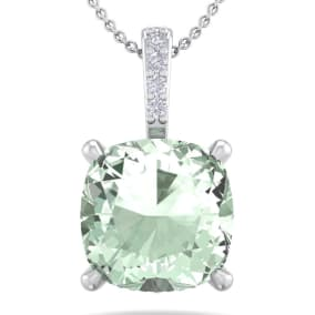 1 Carat Cushion Cut Green Amethyst and Hidden Halo Diamond Necklace In 14 Karat White Gold, 18 Inches