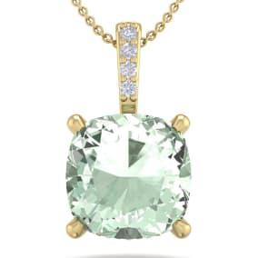 1 Carat Cushion Cut Green Amethyst and Hidden Halo Diamond Necklace In 14 Karat Yellow Gold, 18 Inches