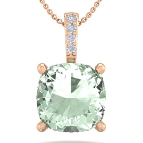 1 Carat Cushion Cut Green Amethyst and Hidden Halo Diamond Necklace In 14 Karat Rose Gold, 18 Inches