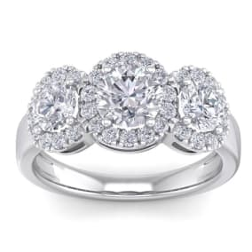 2 1/2 Carat Round Shape Halo Diamond Three Stone Ring In 14K White Gold. Incredible Value For A Large Fiery Diamond Ring