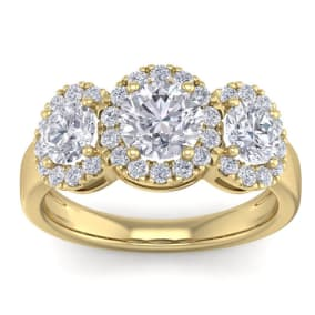 2 1/2 Carat Round Shape Halo Diamond Three Stone Ring In 14K Yellow Gold. Incredible Value For A Large Fiery Diamond Ring