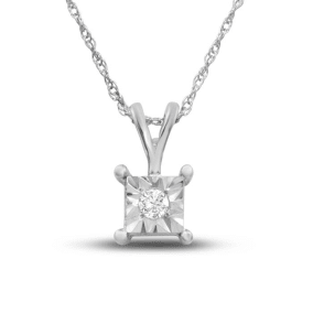 4 Point Diamond Square Necklace In Sterling Silver, 18 Inches. Looks Like A Much Bigger Diamond!