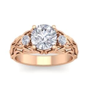 2 1/4 Carat Round Shape Diamond Intricate Vine Engagement Ring In 14 Karat Rose Gold