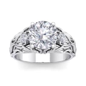 3 1/4 Carat Round Shape Diamond Intricate Vine Engagement Ring In 14 Karat White Gold