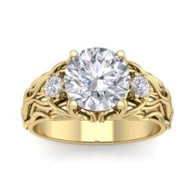 3 1/4 Carat Round Shape Diamond Intricate Vine Engagement Ring In 14 Karat Yellow Gold