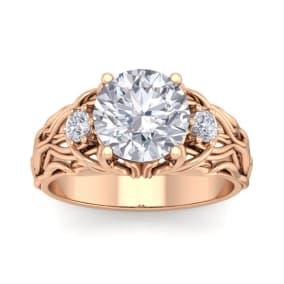 3 1/4 Carat Round Shape Diamond Intricate Vine Engagement Ring In 14 Karat Rose Gold