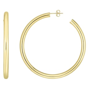 14 Karat Yellow Gold Thick Polished Hoop Earrings, 2 1/4 Inches