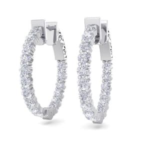 2 Carat Diamond Hoop Earrings In 14 Karat White Gold, 3/4 Inch