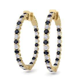 5 Carat Sapphire and Diamond Hoop Earrings In 14 Karat Yellow Gold, 1 1/4 Inch