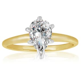 1 Carat Pear Diamond Solitaire Ring In 14K Yellow Gold