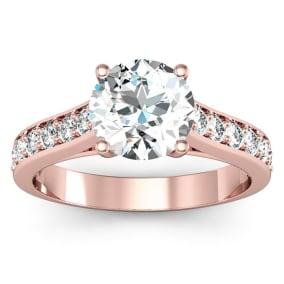 2 Carat Round Shape Moissanite Engagement Ring In 14 Karat Rose Gold