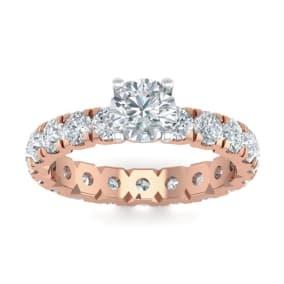 3 Carat Round Shape Diamond Eternity Engagement Ring In 14 Karat Rose Gold
