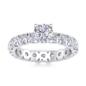 3 Carat Round Shape Diamond Eternity Engagement Ring In 14 Karat White Gold