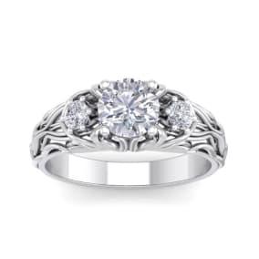 1 1/4 Carat Round Shape Moissanite Intricate Vine Engagement Ring In 14 Karat White Gold