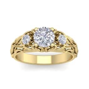 1 1/4 Carat Round Shape Moissanite Intricate Vine Engagement Ring In 14 Karat Yellow Gold