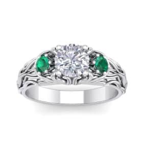 1 1/4 Carat Round Shape Moissanite and Emerald Intricate Vine Engagement Ring In 14 Karat White Gold