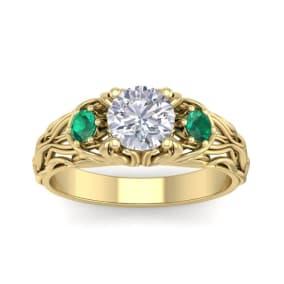 1 1/4 Carat Round Shape Moissanite and Emerald Intricate Vine Engagement Ring In 14 Karat Yellow Gold
