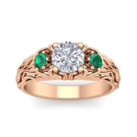 1 1/4 Carat Round Shape Moissanite and Emerald Intricate Vine Engagement Ring In 14 Karat Rose Gold
