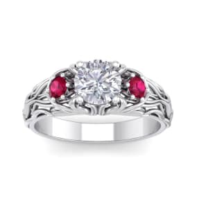 1 1/4 Carat Round Shape Moissanite and Ruby Intricate Vine Engagement Ring In 14 Karat White Gold