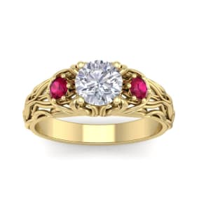 1 1/4 Carat Round Shape Moissanite and Ruby Intricate Vine Engagement Ring In 14 Karat Yellow Gold