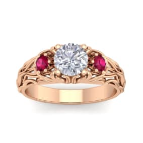 1 1/4 Carat Round Shape Moissanite and Ruby Intricate Vine Engagement Ring In 14 Karat Rose Gold