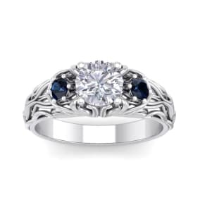 1 1/4 Carat Round Shape Moissanite and Sapphire Intricate Vine Engagement Ring In 14 Karat White Gold