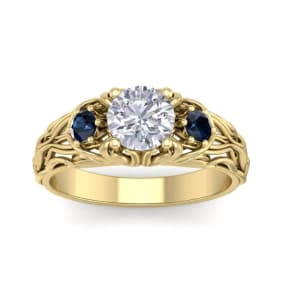 1 1/4 Carat Round Shape Moissanite and Sapphire Intricate Vine Engagement Ring In 14 Karat Yellow Gold
