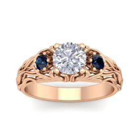 1 1/4 Carat Round Shape Moissanite and Sapphire Intricate Vine Engagement Ring In 14 Karat Rose Gold