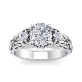 1 3/4 Carat Round Shape Moissanite Intricate Vine Engagement Ring In 14 Karat White Gold