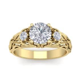 1 3/4 Carat Round Shape Moissanite Intricate Vine Engagement Ring In 14 Karat Yellow Gold
